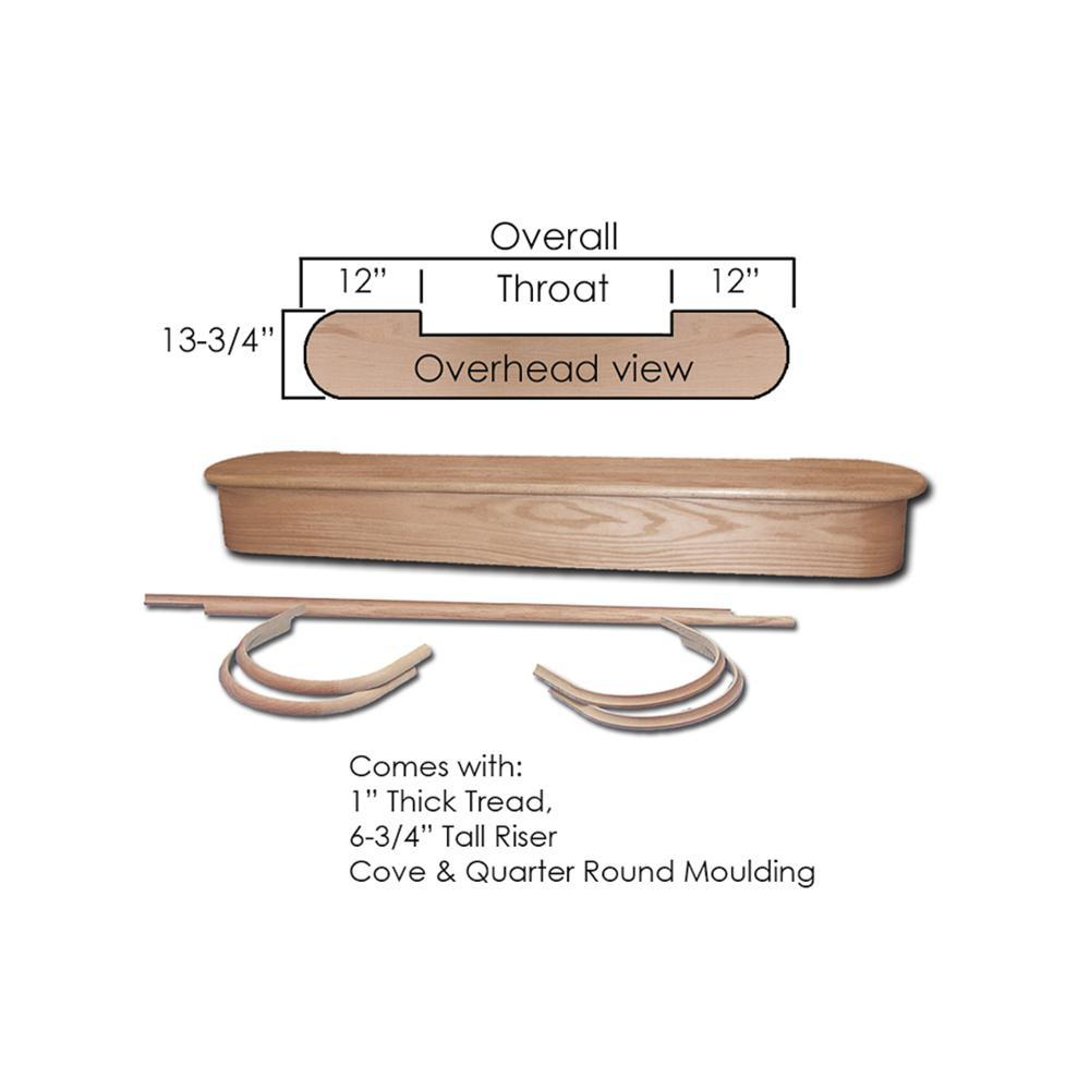 """Wood Stair Treads 8015 Red Oak Starting Step 48/"""""""