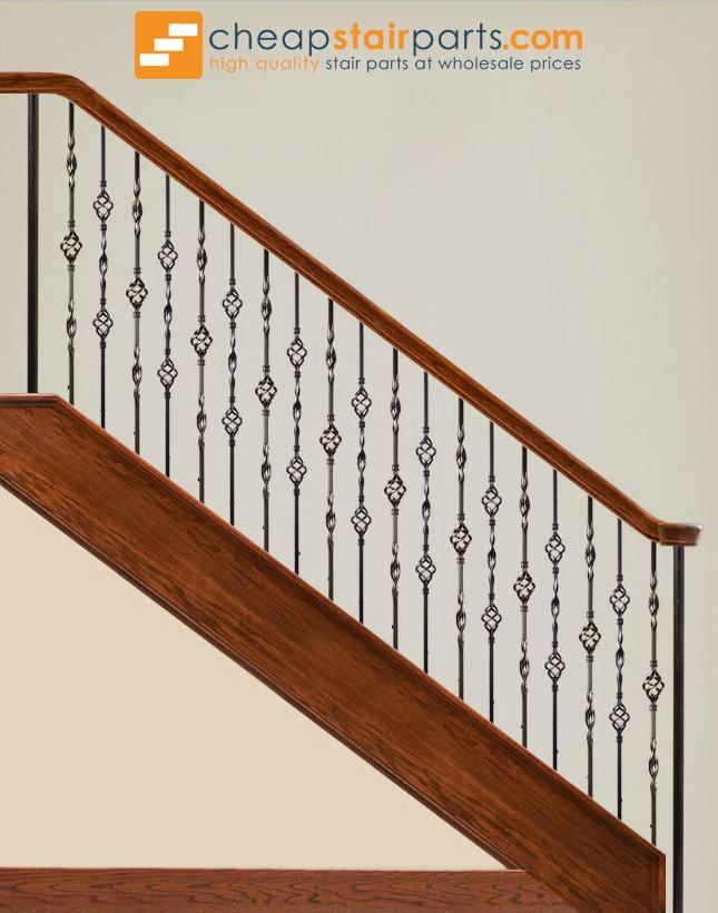 Box of 5 Satin Black 16.1.5 Single Ribbon Solid Iron Baluster for Staircase Remodel