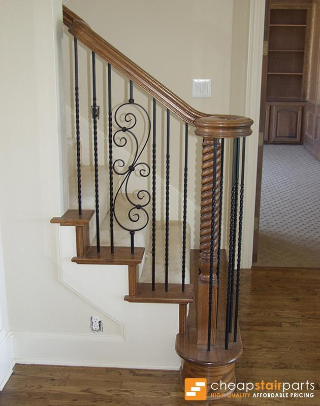 Satin Black 16.1.25-T S-Scroll Hollow Iron Baluster for Staircase Remodel